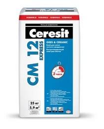 Быстротвердеющий клей для плитки CERESIT CM 12 EXPRESS, 25 кг